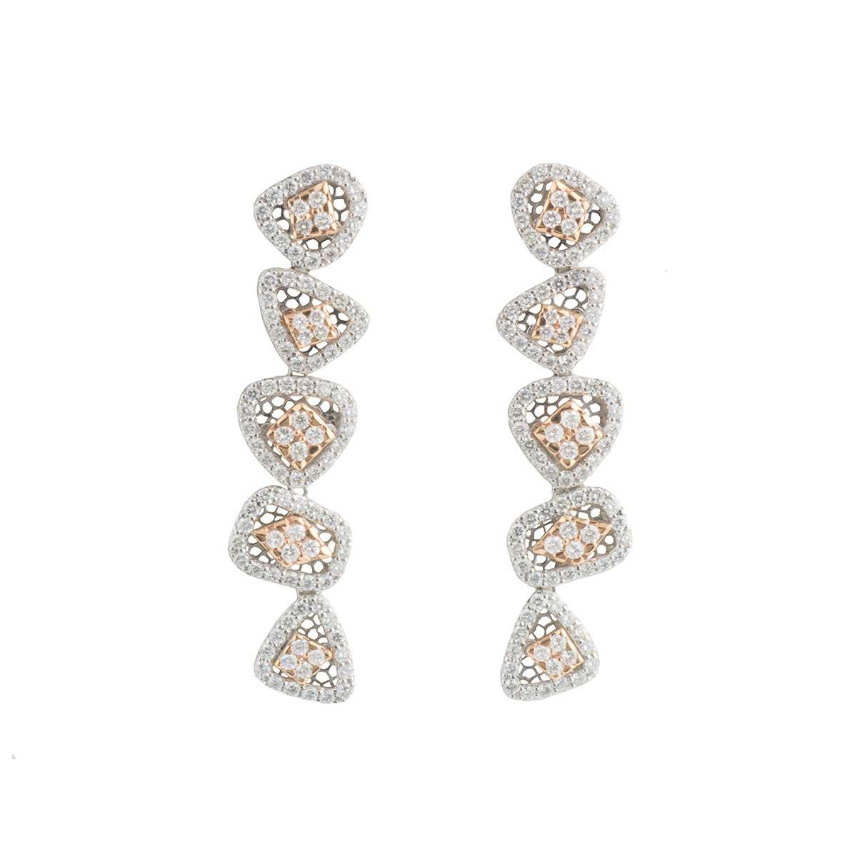 White and Rose Gold Diamond Drop Earrings 3.33ct G-H/VS